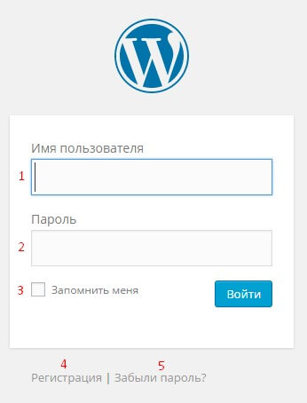 Вход в админ панель WordPress